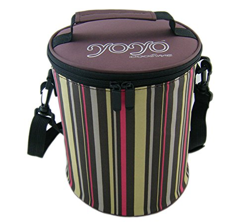 Free 25 Chips Drink - Ospard Insulation Lunch Bags Picnic Cooler Bag with Shoulder Strap Stripe Brown