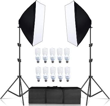 Kit de iluminación Softbox para fotografía, Kit de Caja de luz para Estudio fotográfico, Caja Suave para lámpara de luz de Disparo Continuo con Soporte para Cinco lámparas de 55W: Amazon.es: Electrónica
