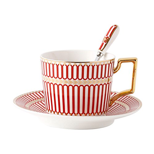 (CHOOLD Royal Red Geometry Fine Bone China Tea Cup and Saucer Set Coffee Cup with Saucer Coffee Mug Set 7oz)