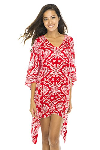 Back From Bali Short Poncho Primitive Red