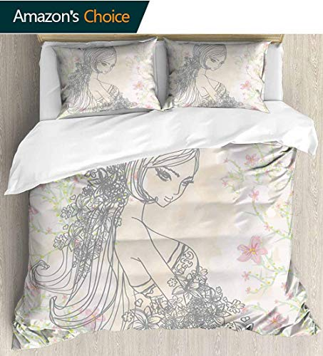 shirlyhome Girls 3pcs Duvet Cover Sets,Drawing of Fashion Girl in Fairyland Spring Field Daisies Artwork Kids Bedding - Double Brushed Microfiber 80