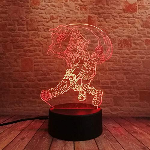 ZBWXYD 3D Illusion Night Light Halloween Anime Cartoon Magic Witcher Magician Master Illusion 7 Color Gradient Child Girls Baby Xmas Toys -