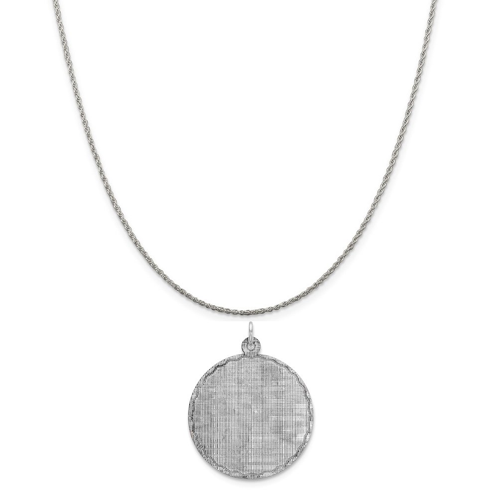 16-20 Mireval Sterling Silver Engravable Round Patterned Disc Charm on a Sterling Silver Chain Necklace