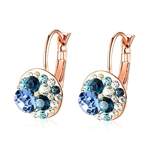 Multicolored Swarovski Crystal Earrings for Women Girls 14K Gold Plated Leverback Dangle Hoop Earrings (Blue Main Crystal/Rose Gold-tone)