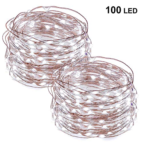Twinkle Star 33FT 100 LED Copper Wire String Lights Fairy String Lights Battery Operated LED String Lights for Christmas Wedding Party Home Holiday Decoration, White, 2 - Bell Dangle Wedding