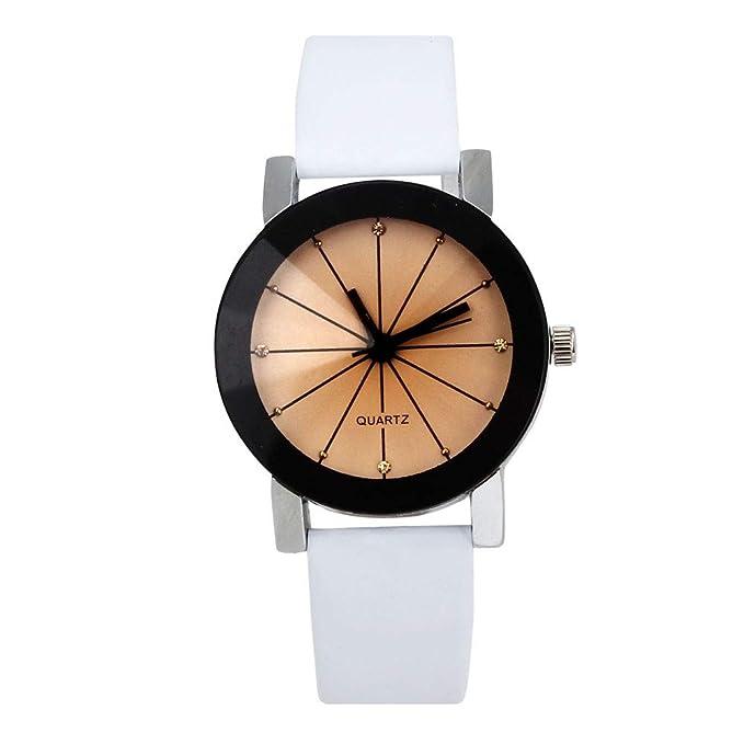 Bestow Women Reloj de Cuarzo Dial Reloj Peque?o Cinturšn Convexo Reloj de Pulsera de Cuero Caja Redonda(Blanco): Amazon.es: Ropa y accesorios