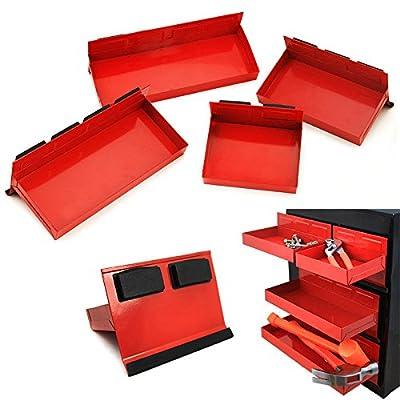 4pc Magnetic Toolbox Tray Set Tool Box Cabinet Side Shelf Storage Van Workshop: Home Improvement