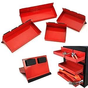 Nuevo 4piezas magnético juego de bandeja de caja de herramientas gabinete lateral estante de almacenamiento Van taller