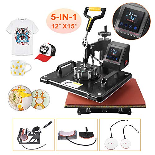 """Power Heat Press Machine 12"""" X 15"""" Professional Swing Away Heat Transfer 5 in 1 Digital Sublimation 360-Degree Rotation Multifunction Combo for T-Shirt Mugs Hat Plate Cap Upgrade LED Control Box"""