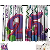 Jinguizi 25th Birthday Curtain for Kids Room Vibrant Birthday Party Set Up Colorful Ribbons and Balloons on The Ground Party Darkening Curtains Multicolor W55 x L39