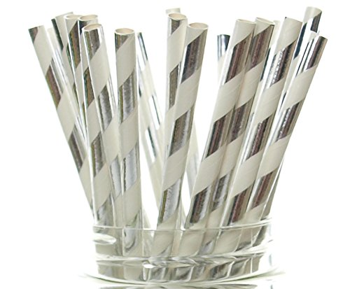 Elegant Straw - Silver Shiny Foil Straws (25 Pack) - Christmas Party Straws, Elegant Holiday Wedding Supplies, Silver Anniversary Dinnerware, Silver Paper Straws