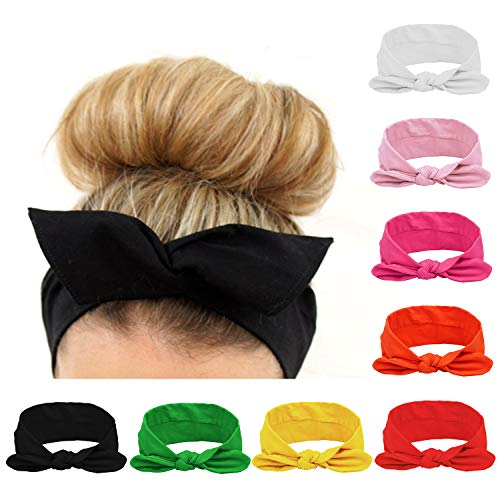 Habibee Women Headbands Turban Headwraps Hair Band Bows Accessories for Fashion Or Sport (Solid Color 8pcs) ()
