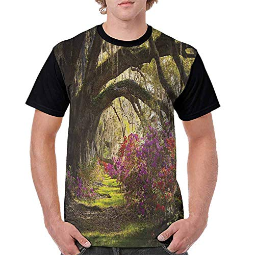 BlountDecor Casual Short Sleeve Graphic Tee Shirts,Mystical Garden Flourishing Fashion Personality Customization