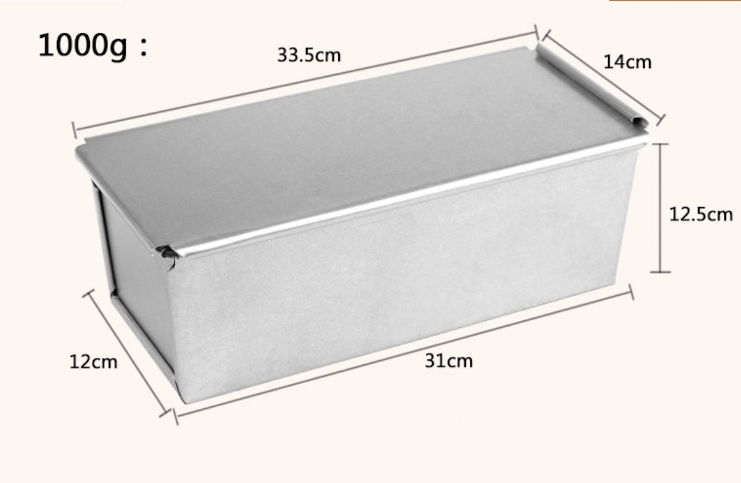Astra Gourmet Bakeware Aluminized Steel Pullman Loaf Pan with Cover, 13 x 5.5 x 5 inch, Nonstick & Quick Release Coating(Sliver)