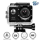 4K WIFI Sports Action Camera, Ultra HD Waterproof Cam DV Camcorder with 16MP ...