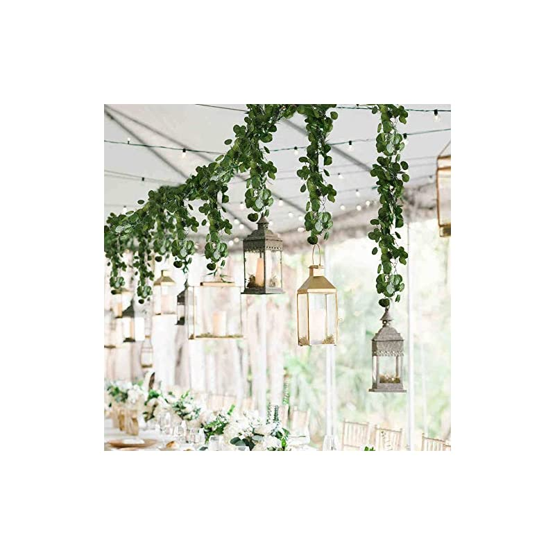 silk flower arrangements ho2nle 12 pack 84 feet artificial fake hanging vines plant faux silk green leaf garlands home office garden outdoor wall greenery cover jungle party decoration