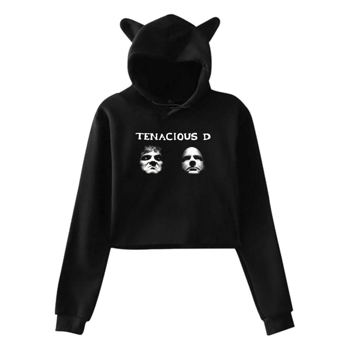 Womans Tenacious D Long Sleeves Cat Ear Hoodie Sweater Black Gift