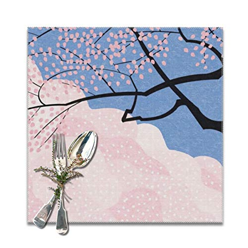 (Scarlett Life Hall Natural Tree Water Painting Art LandscapeDecorative Polyester Placemats Set of 6 Printed Square Plate Cushion Kitchen Table Heat-Resistant Washable Dining Room Family Children)