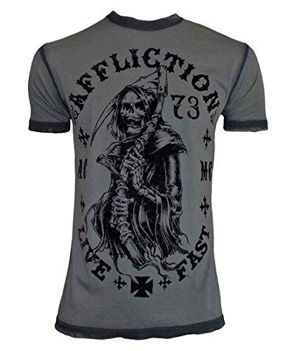 Affliction Death Awaits Short Sleeve T-Shirt L Charcoal