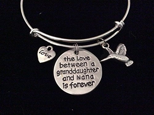 Nana Italian Charm - The Love between a Granddaughter and Nana is Forever Expandable Charm Bracelet Adjustable Bangle Gift