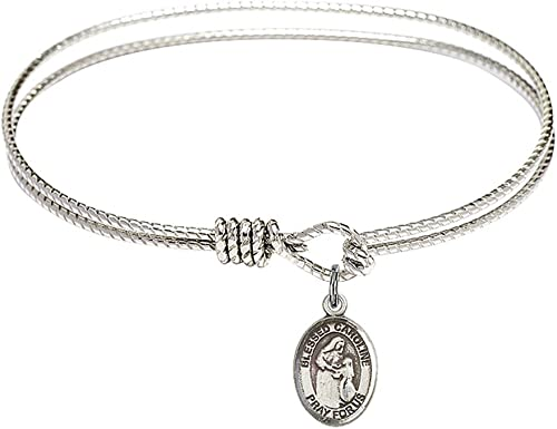 DiamondJewelryNY Eye Hook Bangle Bracelet with a St Albert The Great Charm.