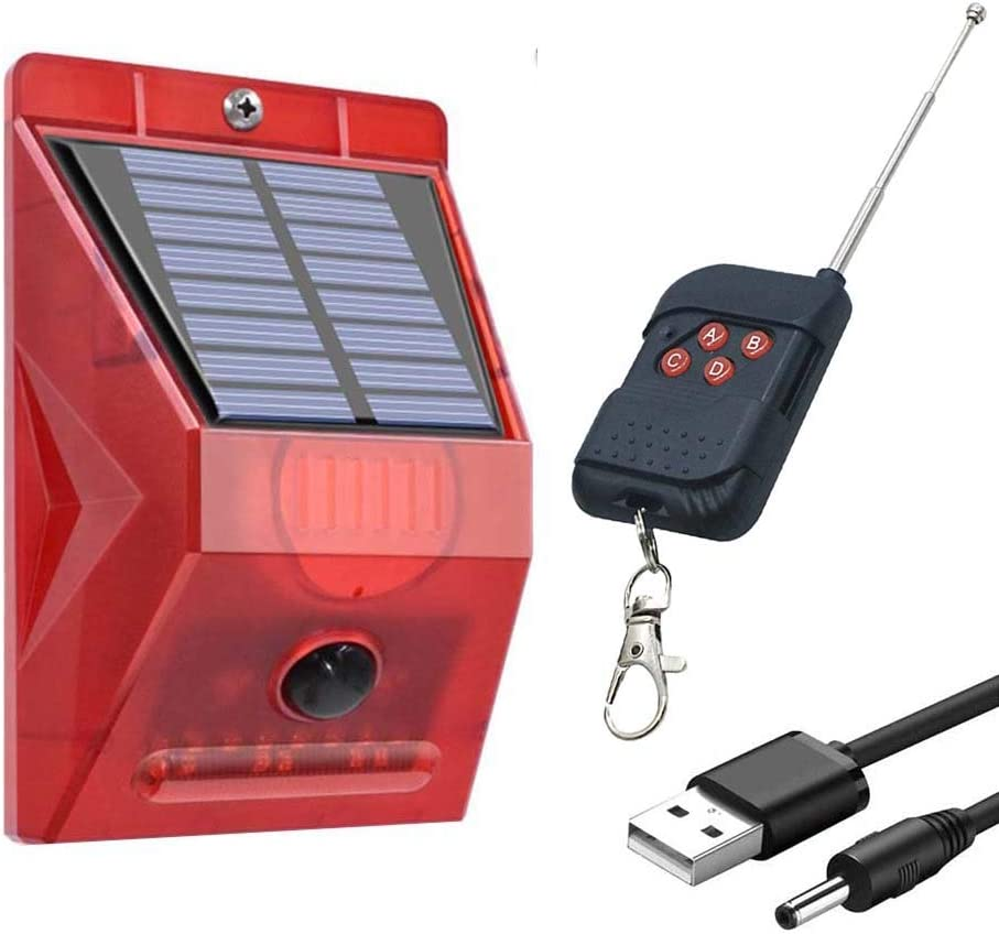 Motion Sensor Alarm Outdoor, Solar Powered 8LED Strobe Light Wireless Security Alarm System, Loud Siren Alert (129dB, 328ft, Battery Operated) with Remote Control for Home, Farm, Barn,Villa,Yard