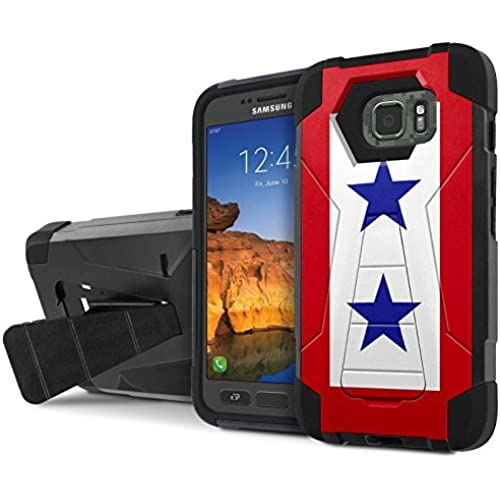 AT&T [Galaxy S7 Active] Combat Case [SlickCandy] [Black/Black] Armor Shell & Impact Resistant [Kick Stand] [Shock Proof] Phone Case - [Service Mother Blue Sales