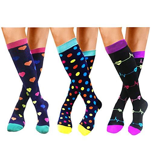 Compression Socks For Women Men 20-30mmHg-1/3 Pairs Best Medical, Nursing, Travel & Flight Socks (L/XL, STYLE3) ()