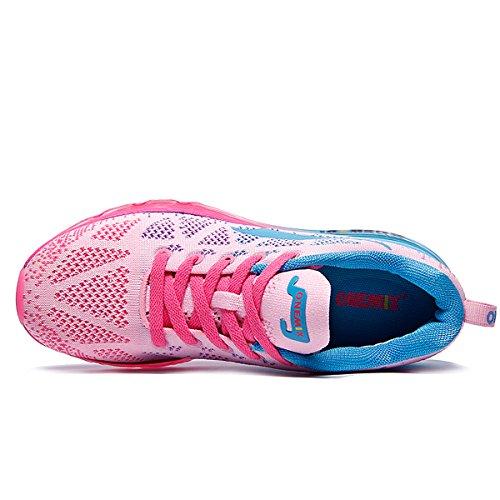 Onemix Womens Leggero Cuscino Daria Sport Allaria Aperta Scarpe Blu Rosa In Esecuzione