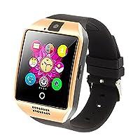Bluetooth Reloj Inteligente con Cámara, Ezone Reloj Inteligente para Android Teléfonos Inteligentes, Q18 Smart Watch - Oro