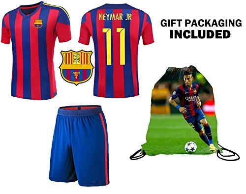 bc8864cd2 Amazon.com   Fan Kitbag Neymar Jr  11 Barcelona Youth Home   Away Soccer  Jersey   Shorts Kids Premium Gift Kitbag ✮ BONUS Neymar Jr  11 Drawstring  Backpack ...