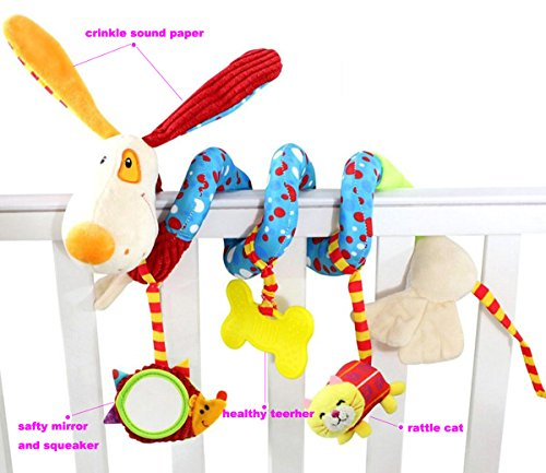 SKK Baby Soft Stroller Car Seat Activity Toy with Rattle Teether Mirror Puppy by SKK BABY (Image #2)