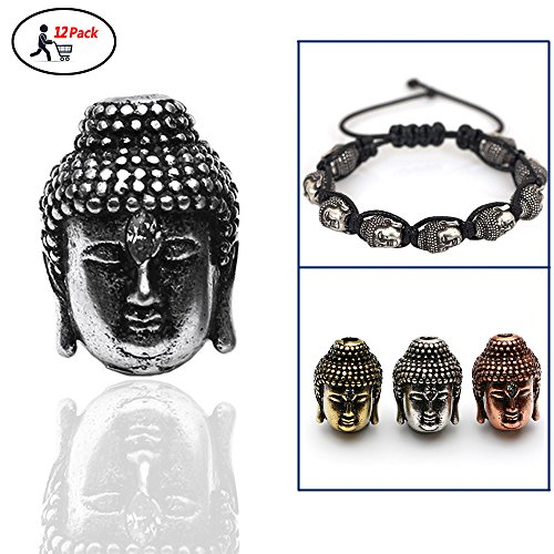 Lucky Buddha Bead Antique Style Yoga Bracelet Charm for DIY Jewelry Making Findings10x14mm 12Pcs (Antique Silver) by WEREWOLVES