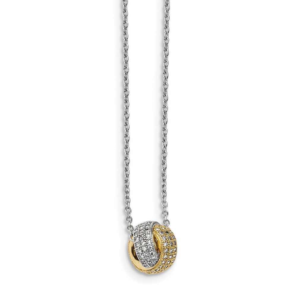 Mia Diamonds 925 Sterling Silver Gold-plated CZ Brilliant Embers Necklace