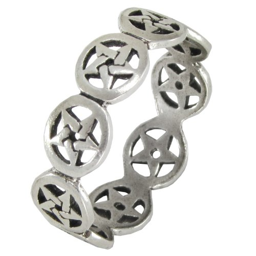 Sterling Silver Pentacle Pentagram Band Ring
