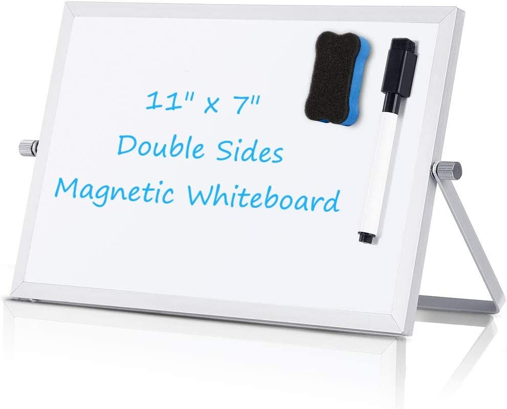 "Small Dry Erase White Board - Desktop Portable Mini WhiteBoard Easel 7""x 11"", 360 Degree Reversible to Do List Notepad for Office, Home, Kitchen, School."