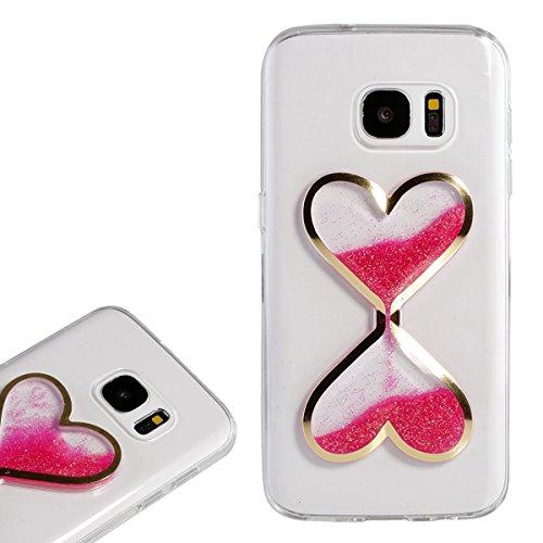 for Samsung Galaxy S7 Case,Gravydeals Luminous Glow in The Dark Rose Red Heart Quicksand Liquid Transparent Soft TPU Shock Absorbing Case -