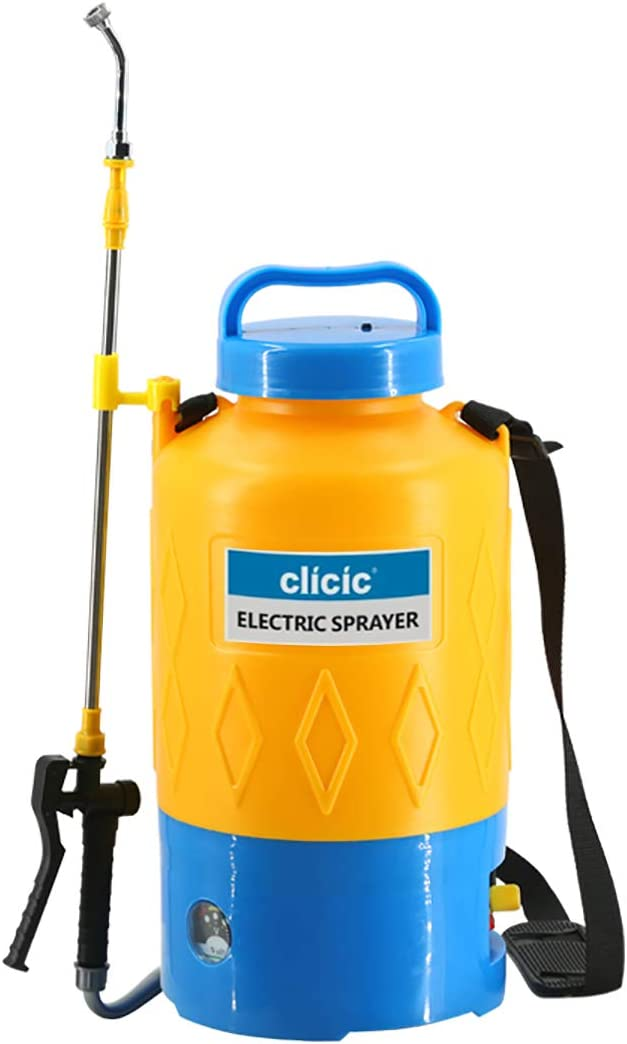 CLICIC 1.3 Gallon Portable Battery Powered Sprayer with Long-Life Battery for Gardens, Cleaning Cars and Wall, Includes Adjustable Shoulder Strap, Yellow