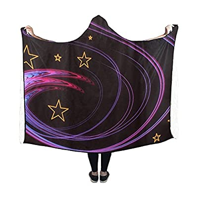 RYUIFI Hooded Blanket Abstract Form Star Decoration Ornament Blanket 60x50 Inch Comfotable Hooded Throw Wrap