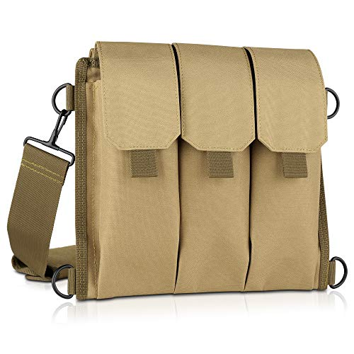 Savior Equipment Tactical Rifle & Pistol Magazine Pouch Carrier for M4 Carbine AR15 AK47 - Up to 6 Extended Mag, Adjustable Padded Shoulder Strap Included