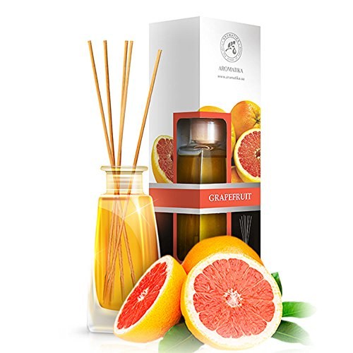 Grapefruit Diffuser with grapefruit oil, 100ml, Scented Reed Diffuser Grapefruit - 0% Alcohol, Diffuser Gift Set with 8sticks - best for Aromatherapy, Home, Reed diffuser Grapefruit by AROMATIKA