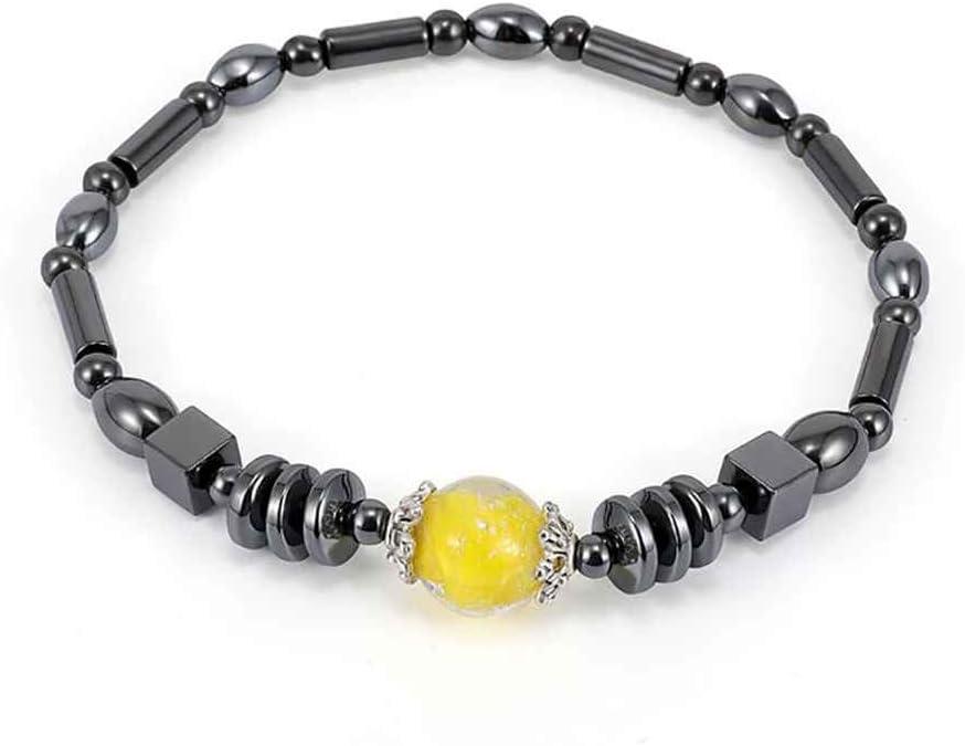 Fangfeen Amarilla de la Piedra Preciosa geométrica Elipse Cuadrado Negro magnética del cálculo biliar Grano del hematites para el Tobillo Femeninos