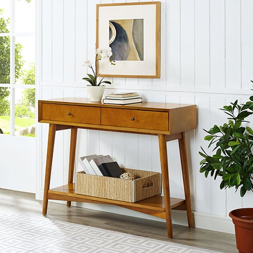 Crosley Furniture Landon Console Table in Acorn
