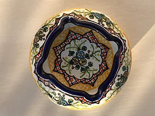 Yellow Signed - Talavera Ceramic Ashtray 4'' Modern Art Design Authentic Puebla Mexico Pottery Hand Painted Design Vivid Colorful Art Decor Signed [Yellow W/Blue Rim]