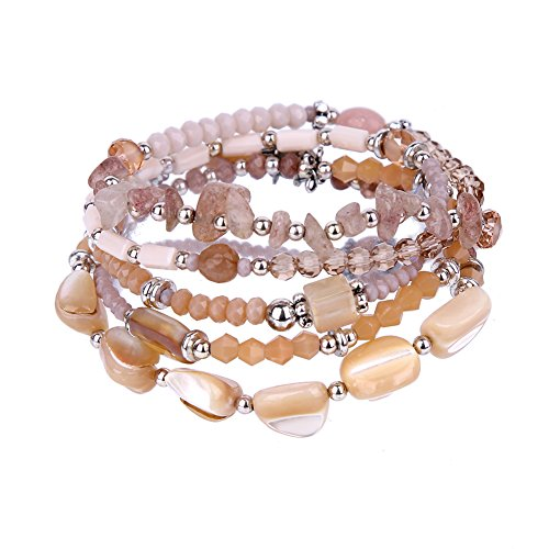 (tom+alice Natural Stone 5 Wraps Bracelet with Nature Crystal/Shell/Stretch Bracelet/Necklace)