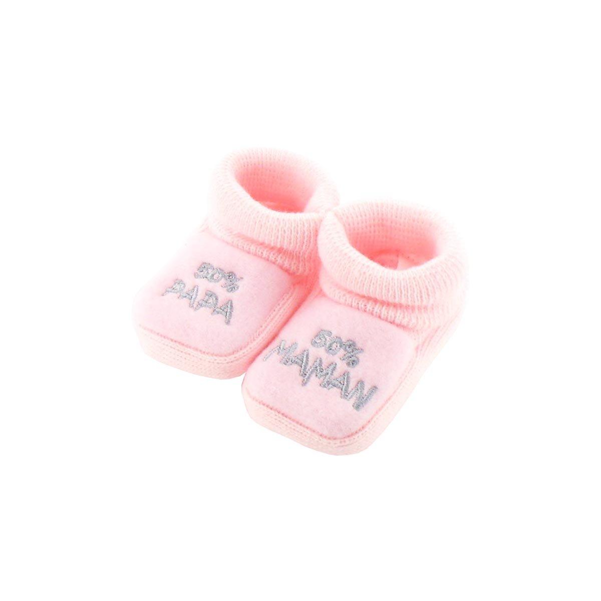 Chaussons pour bébé 0 à 3 Mois rose - 50 Maman 50 Papa Fruit de ma Passion