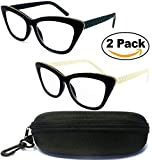 (#CAT002) 2 Pairs – Cat Eyes Cateyes Rhinestone Retro Classic Reading Glasses For Women Optic Frame & FREE HARD CASE ( Strength : +1.50 )