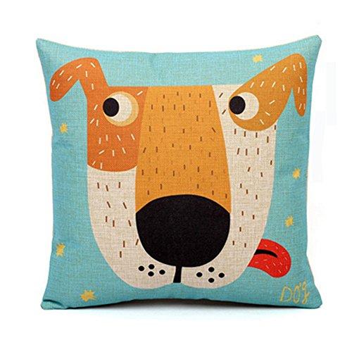 Cartoon Pattern Cotton Linen Decorative Throw Pillow,Dog
