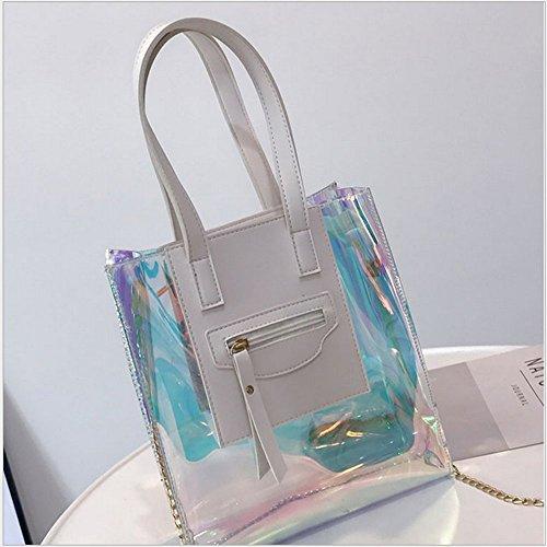 Rrock Handtasche Einfache Mode Jelly Bag Schulter Diagonal Transparente Tasche White jYHSVXgy