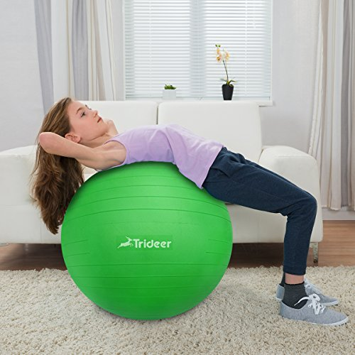 Exercise Ball, Yoga Ball, Birthing Ball with Quick Pump, Anti-Burst & Extra Thick, Heavy Duty Ball Chair 45cm 55cm 65cm 75cm 85cm Stability Ball Supports 2200lbs (Office&Home) (Lime, 45cm) by Trideer (Image #8)